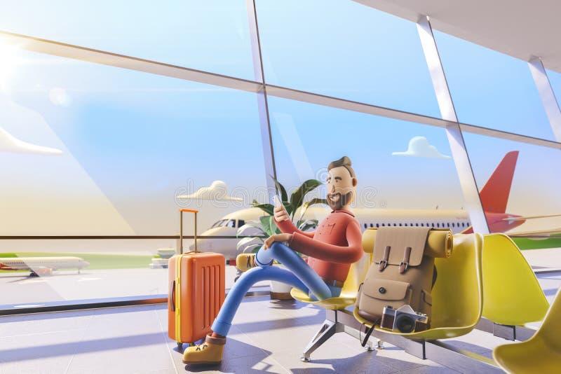 Zeichentrickfilm-Figur-Tourist sitzt mit Handtelefonen im Flughafen Abbildung 3D Ein Mann wartet auf seinen Flug in der Flughafen stock abbildung
