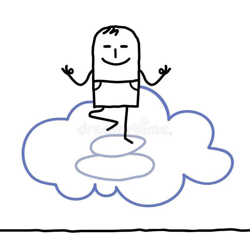Zeichentrickfilm-Figur und Yoga vektor abbildung