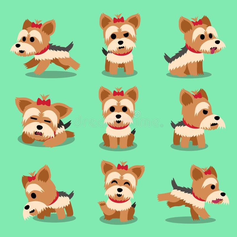 Zeichentrickfilm-Figur-Yorkshire-Terrierhundehaltungen eingestellt vektor abbildung