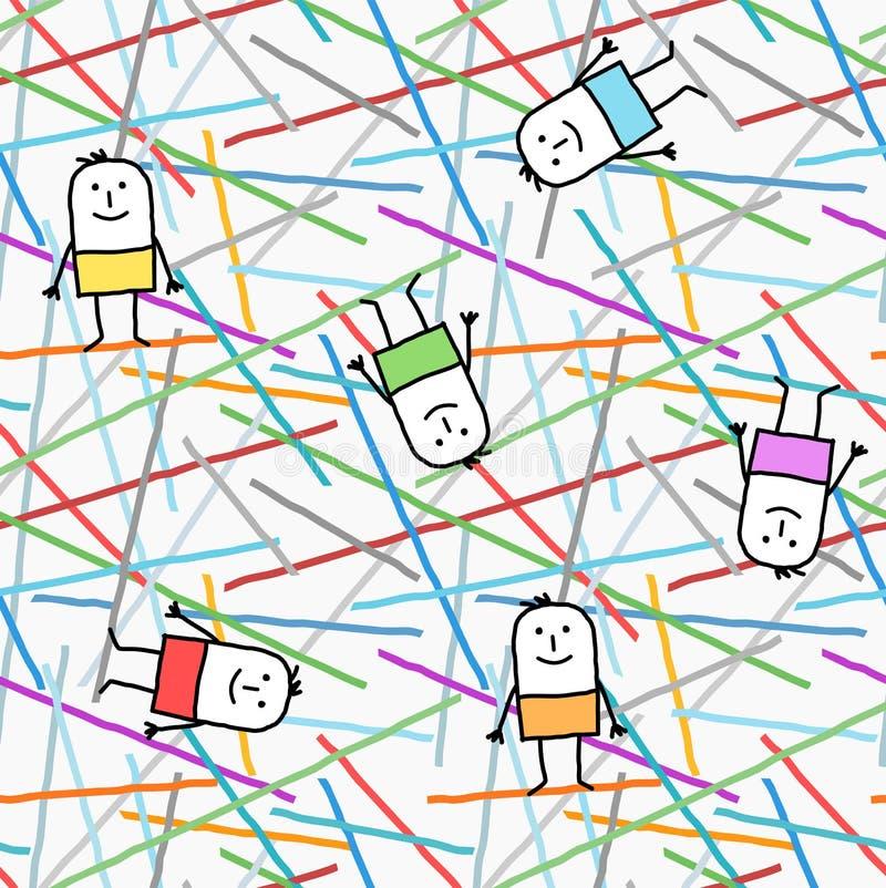 Zeichentrickfilm-Figuren auf grafischen Linien und Farbnahtlosem Muster stock abbildung