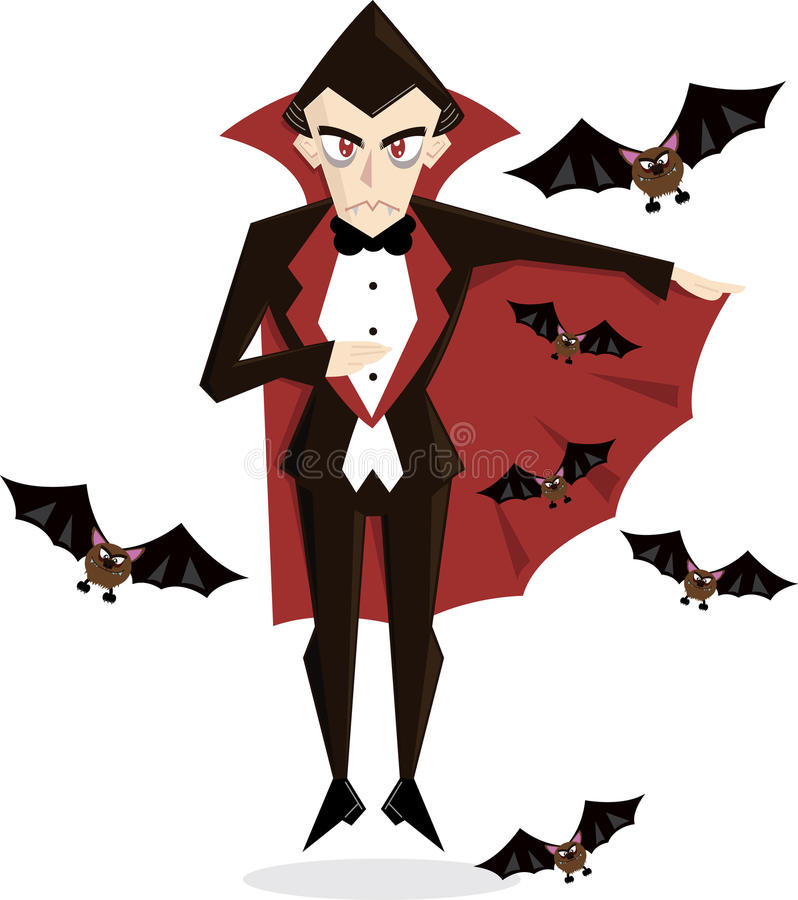 Zeichenvektorabbildung Dracula-Halloween stock abbildung