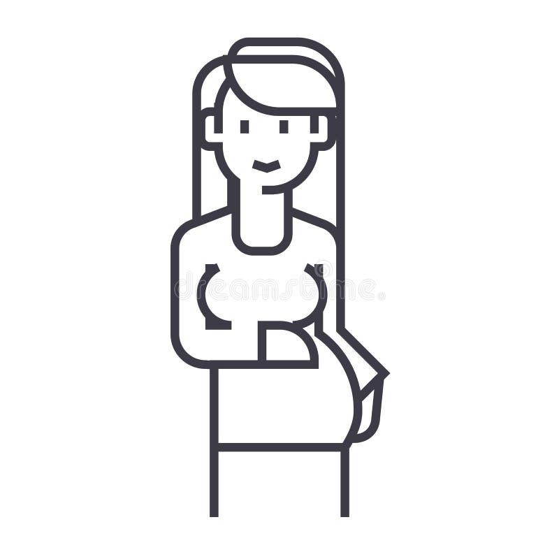 Zeichenvektorlinie Ikone, Zeichen, Illustration der schwangeren Frau auf Hintergrund, editable Anschläge stock abbildung