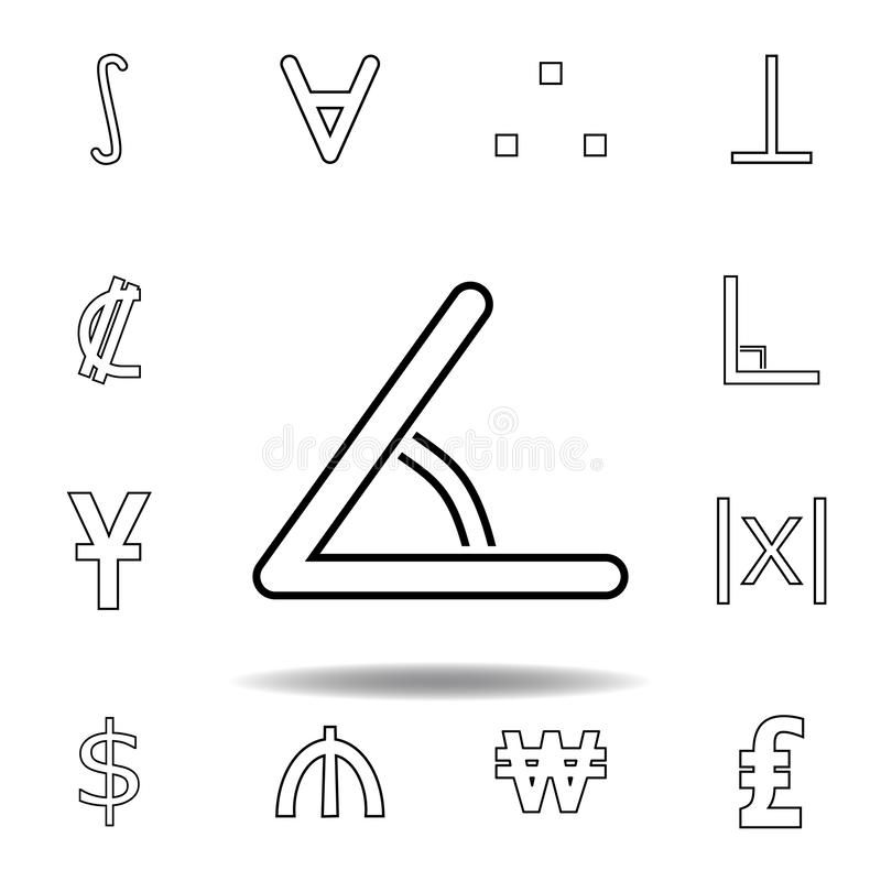 Zeichenwinkelikone Dünne Linie Ikonen eingestellt für Websiteentwurf und Entwicklung, Appentwicklung Erstklassige Ikone lizenzfreie abbildung
