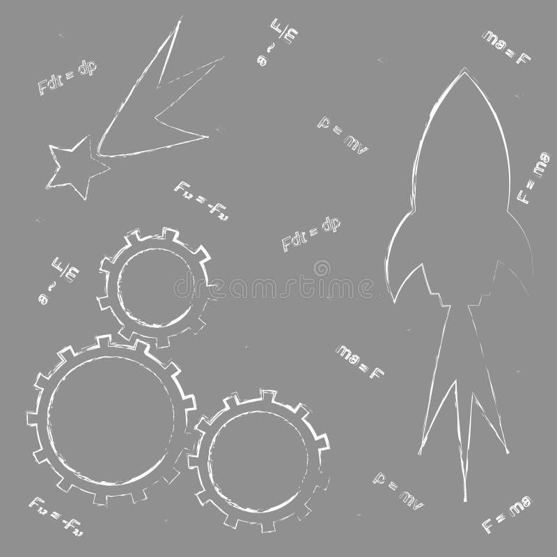 Zeichnen auf die Schulbehörde: Rakete, Gang, Stern, Formeln von neuem stockbilder