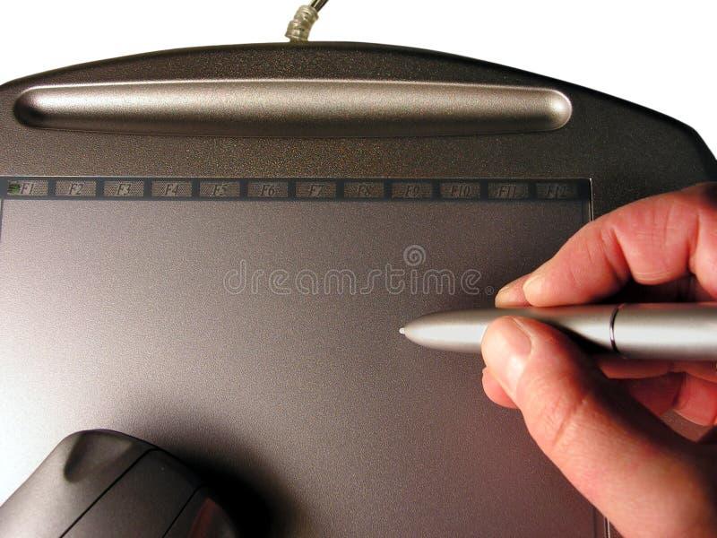 Zeichnen auf grafische Tablette stockbilder