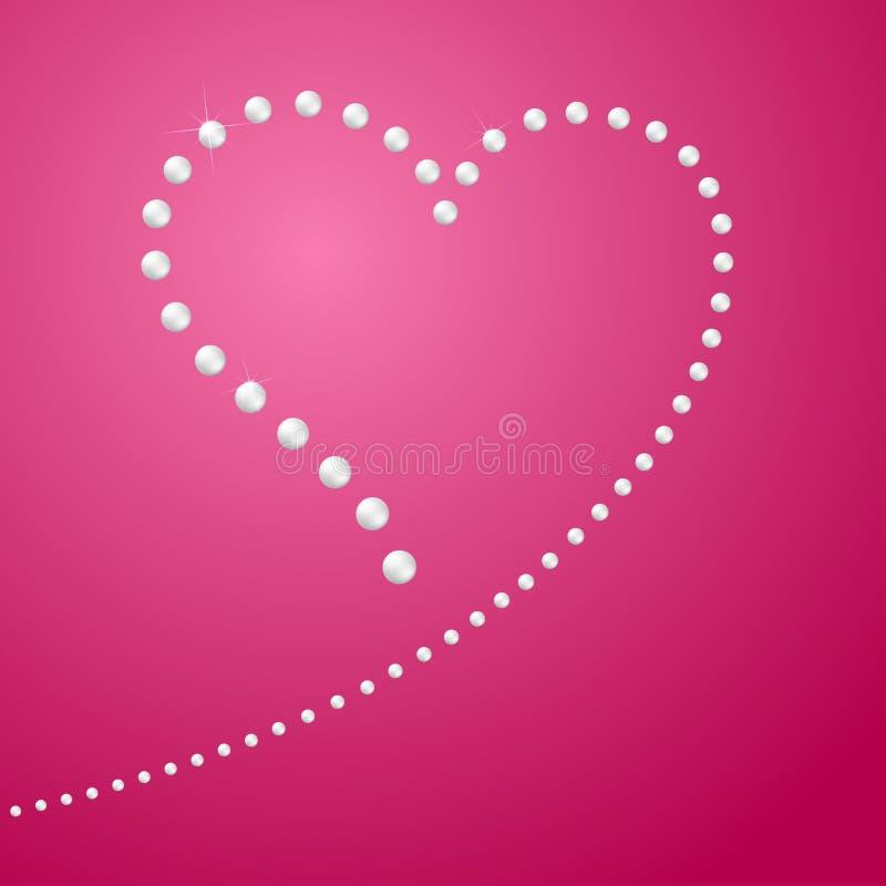 Zeichnen des Herzens eine Linie von Perlen in Form eines Herz Symbols Liebe und Heirat der Schablone freien Raumes für Grußkarten stock abbildung