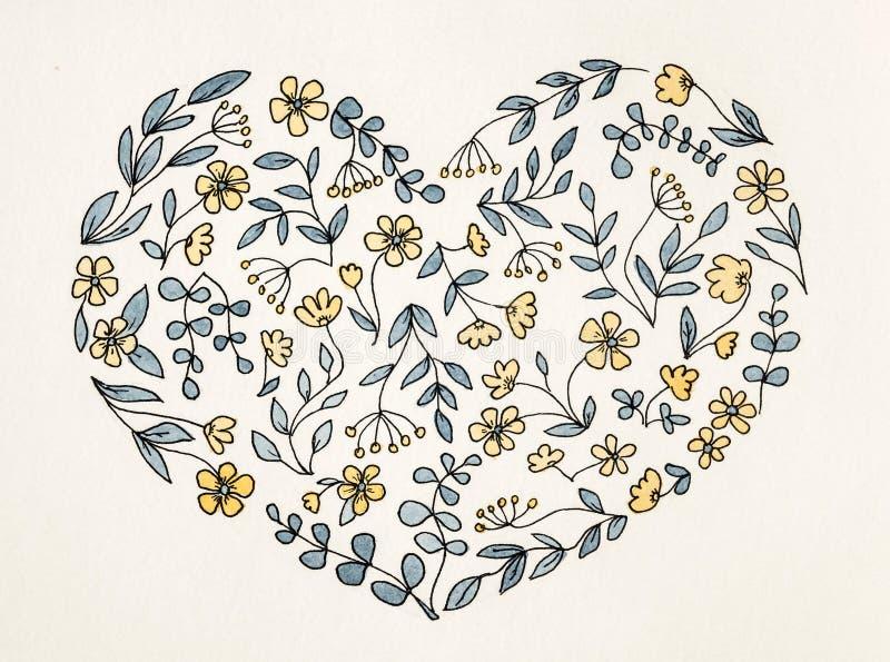 Zeichnen des Herzens von den Blumen in der Karikaturart stockbild