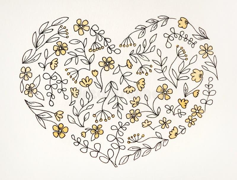 Zeichnen des Herzens von den Blumen in der Karikaturart lizenzfreies stockbild