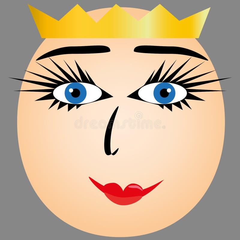 Zeichnen einer Frau mit einer Krone lizenzfreie abbildung