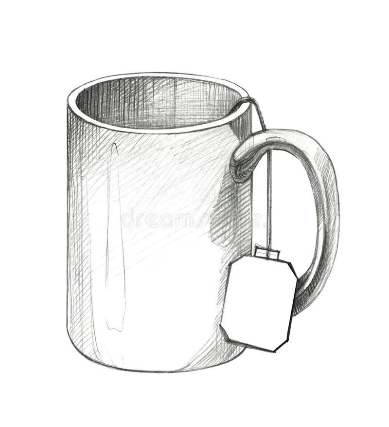 Zeichnen eines Bechers mit einem Aufkleber von einem Teebeutel Zeichnung des Baums auf einem wei?en Hintergrund vektor abbildung