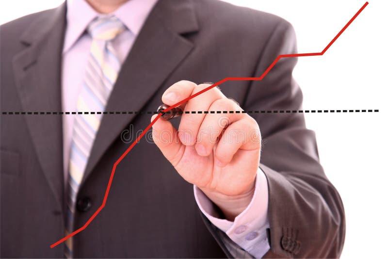 Zeichnen eines Finanzdiagramms stockfoto
