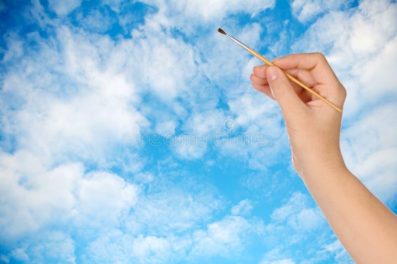 Zeichnen eines Himmels stockbilder