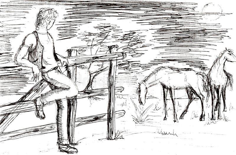 Zeichnen eines jungen Kuhjungen mit Pferden lizenzfreie abbildung