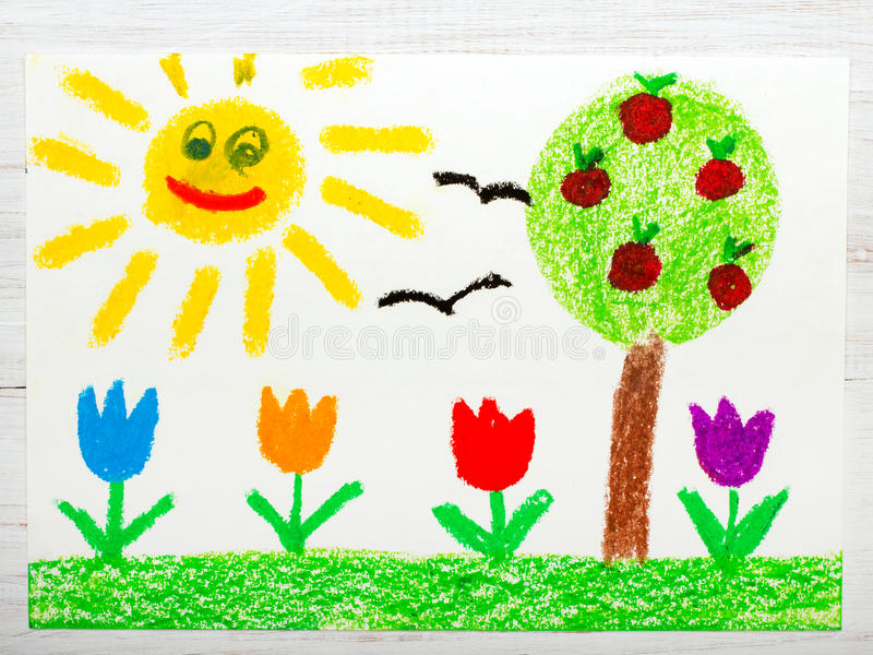 Zeichnen: gestalten Sie mit Apfelbaum, Tulpenblumen eine glückliche Sonne landschaftlich lizenzfreie abbildung