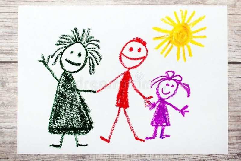 Zeichnen: glückliche Familie Mutter, Vater und Tochter stock abbildung
