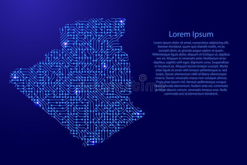 Zeichnen Sie Algerien von Druckbrett, vom Chip und von der Radiokomponente mit Querstation auf stock abbildung
