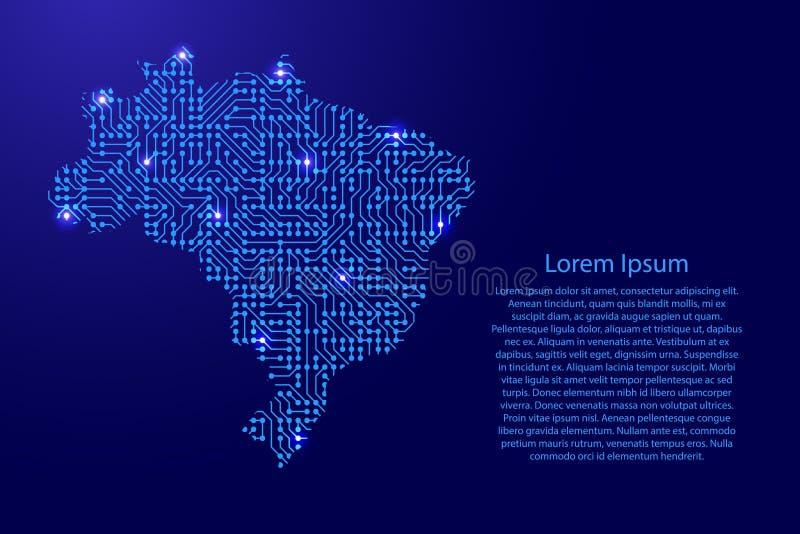 Zeichnen Sie Brasilien von Druckbrett, vom Chip und von der Radiokomponente mit Blauem auf vektor abbildung