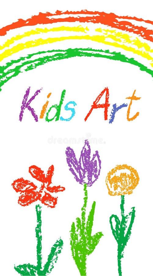 Zeichnen Sie buntes wie Kind-` s Hand gezeichnete Karte mit Gras, Blumen, Regenbogen Wie Kind-` s Pastellkreidekunst vektor abbildung