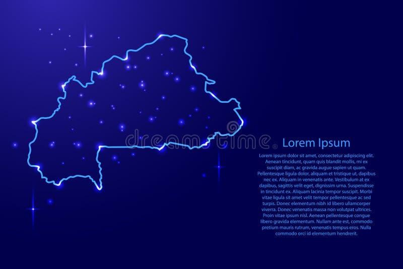 Zeichnen Sie Burkina Faso vom blauen Konturnnetz, leuchtenden Raum auf vektor abbildung