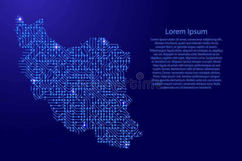 Zeichnen Sie den Iran von Druckbrett, vom Chip und von der Radiokomponente mit Blau auf vektor abbildung