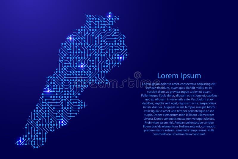 Zeichnen Sie den Libanon von Druckbrett, vom Chip und von der Radiokomponente mit Querstation auf vektor abbildung
