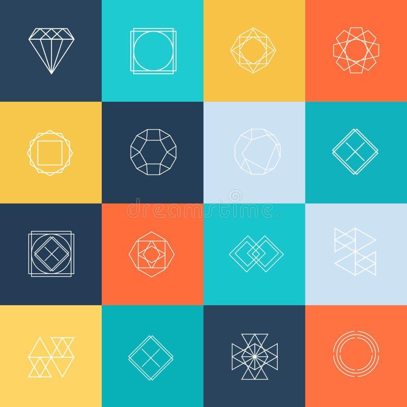 Zeichnen Sie Designlogos und Ikonenelemente für Karten oder stock abbildung