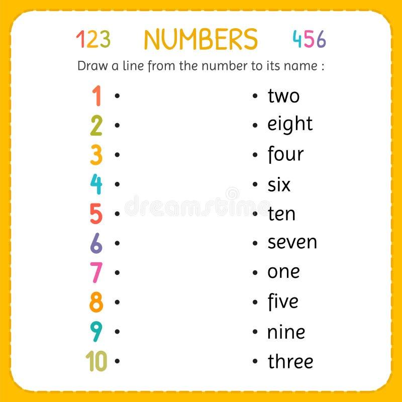 Zeichnen Sie Eine Linie Von Der Zahl Zu Seinem Namen Zahlen Für ...