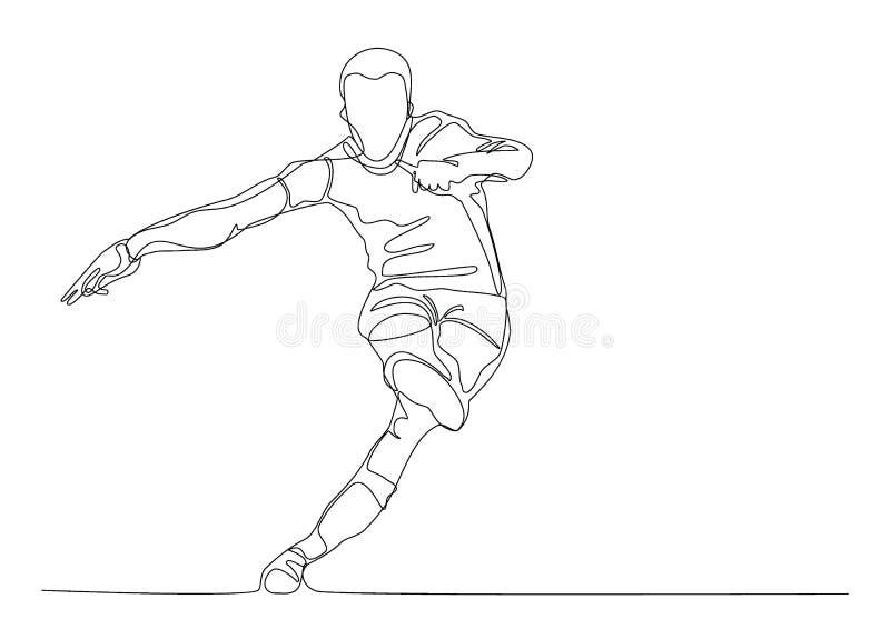Fussball Oder Fussballspieler Tritt Den Ball Linie Kunst