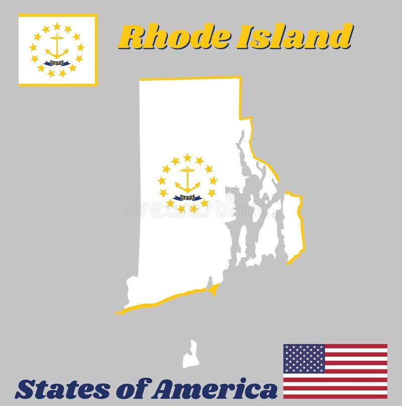 Zeichnen Sie Entwurf und Flagge von Rhode Island, der Goldanker auf, umgeben durch 13 Goldsterne auf Weiß Ein blaues Band unter d vektor abbildung