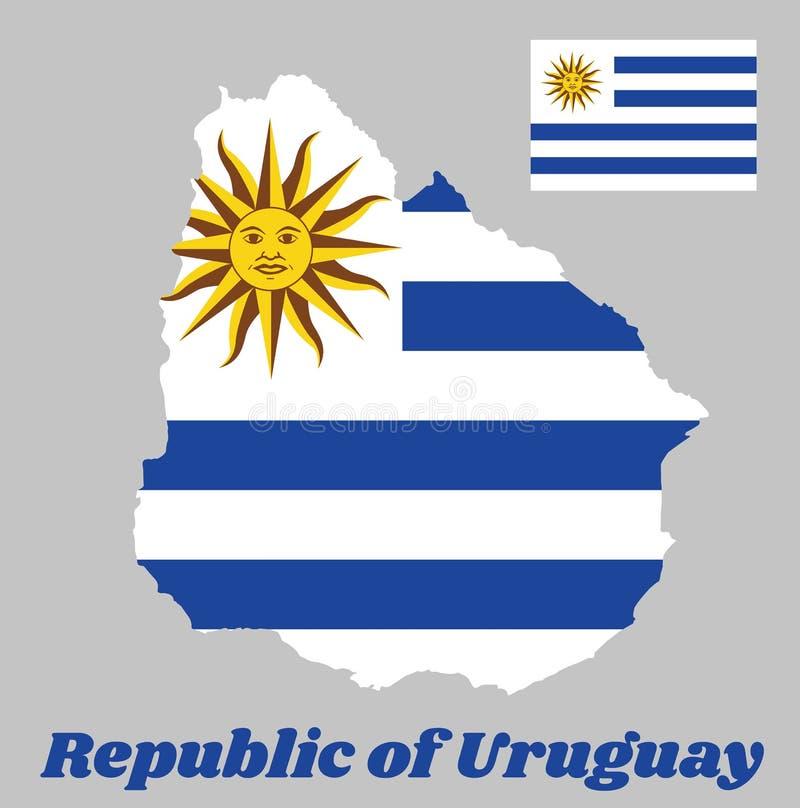 Zeichnen Sie Entwurf und Flagge von Uruguay, horizontale Streifen der weißen Alternative mit hellblauem und den Sun von Mai auf lizenzfreie abbildung
