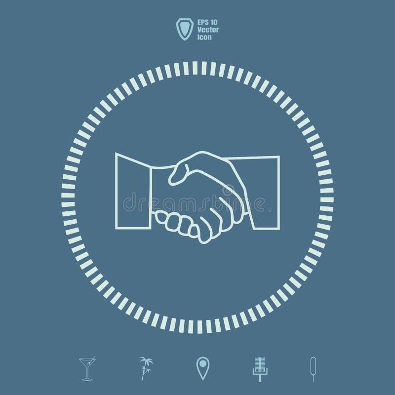 Zeichnen Sie flache Ikone der Händedruck- oder Geschäftsvertragsvereinbarung vektor abbildung