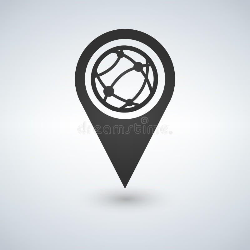 Zeichnen Sie flache Ikone des Zeigerkugelinternets, Illustration auf Flache Designart vektor abbildung