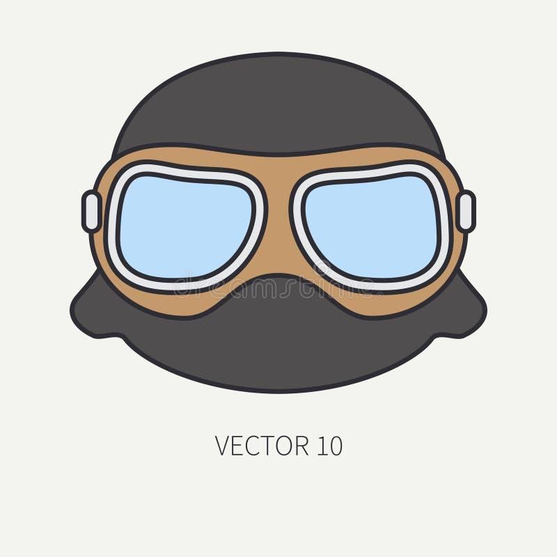 Zeichnen Sie flachen Farbvektormotorrad-Ikonensturzhelm, Gläser Legendäres Retro- Überlagert, einfach zu bearbeiten Radfahrer mot vektor abbildung