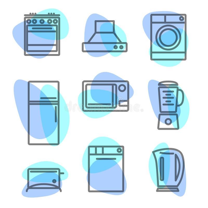 Zeichnen Sie Ikonen mit flachen Gestaltungselementen von Küchengeräten lizenzfreies stockbild