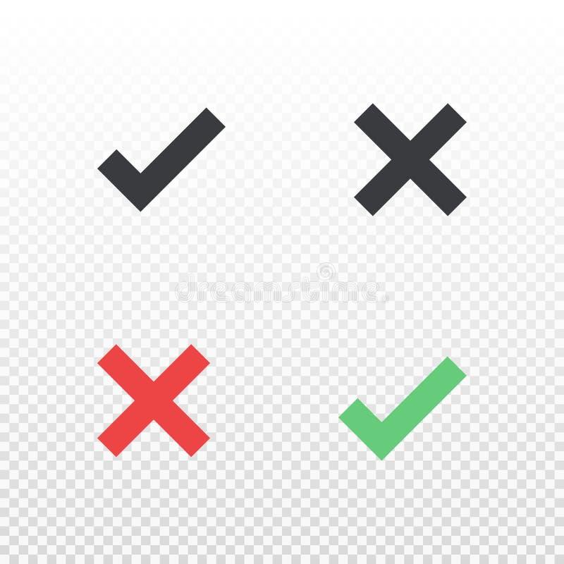 Zeichnen Sie Ikonenlöschen und genehmigen Sie Schwarzes rotes und grünes Kreuz- und Häkchensymbol Element für Design-APP oder Web vektor abbildung