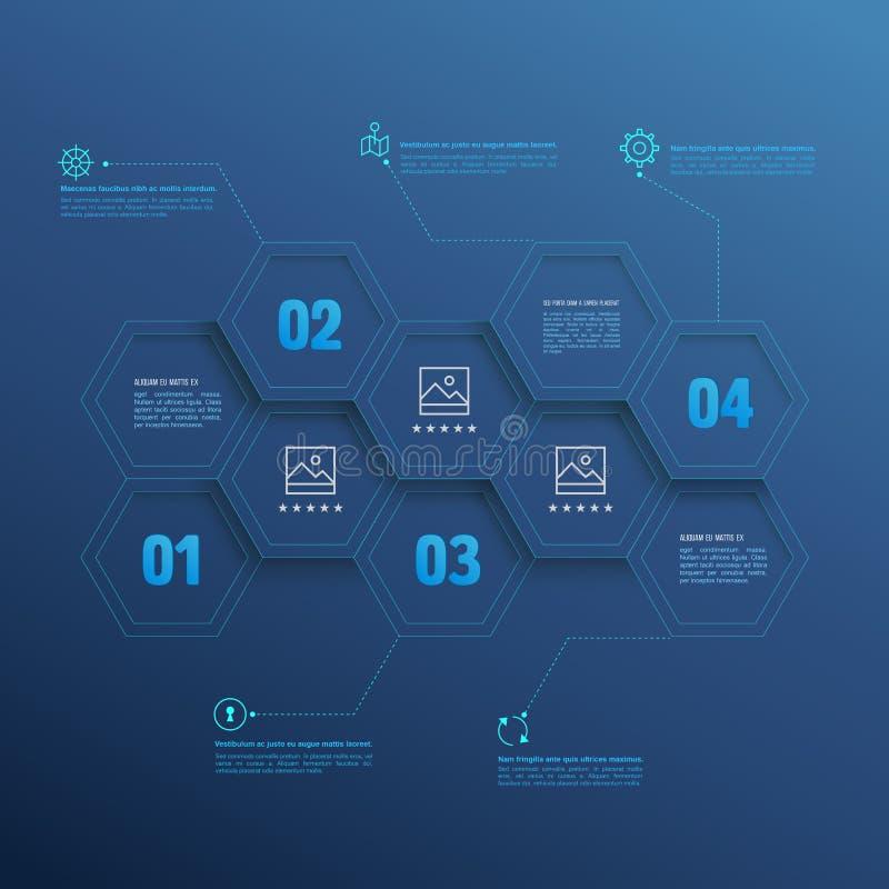 Zeichnen Sie infographic Hexagone mit Zahlwahlen auf blauem Hintergrund stock abbildung