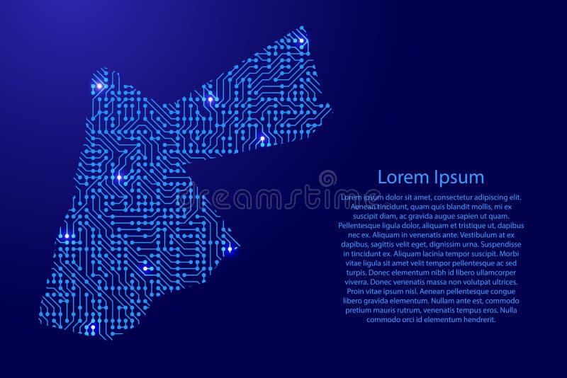 Zeichnen Sie Jordanien von Druckbrett, vom Chip und von der Radiokomponente mit Blauem auf vektor abbildung