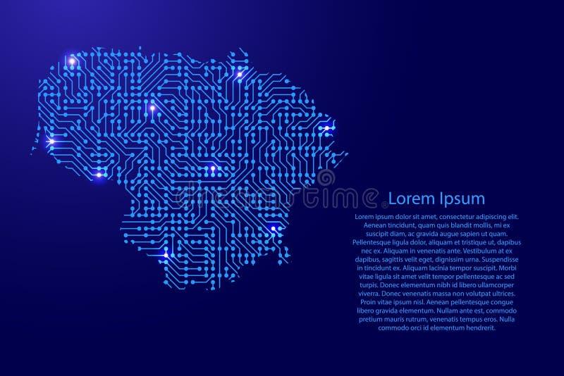 Zeichnen Sie Litauen von Druckbrett, vom Chip und von der Radiokomponente mit auf stock abbildung