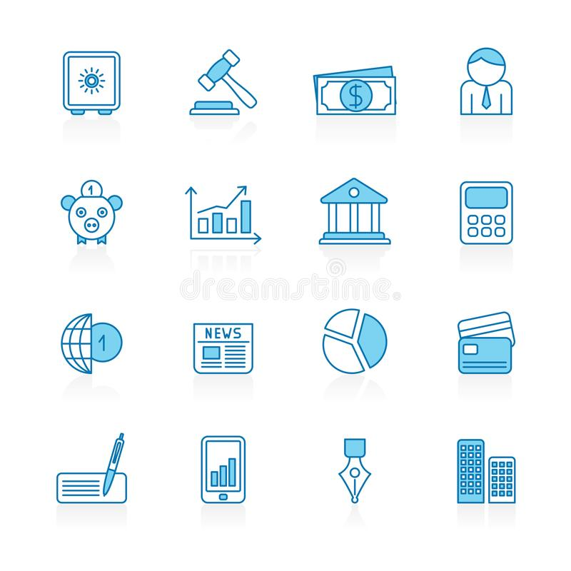 Zeichnen Sie mit blauem Hintergrund Geschäft, Bank-und Finanzwesen-Ikonen vektor abbildung