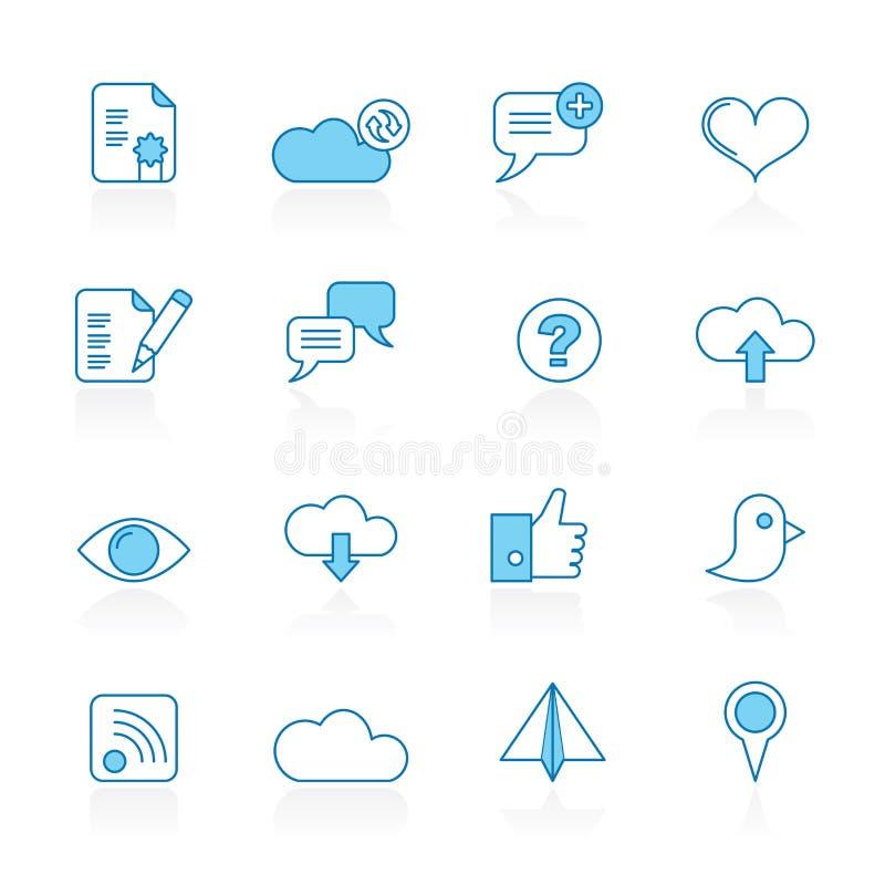 Zeichnen Sie mit blauem Hintergrund Internet, Netz und beweglichen Ikonen lizenzfreie abbildung