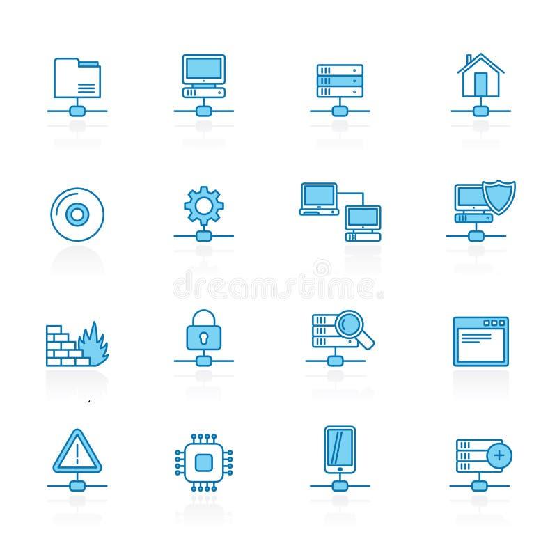 Zeichnen Sie mit blauem Hintergrund Netz, Server und Hosting-Ikonen stock abbildung