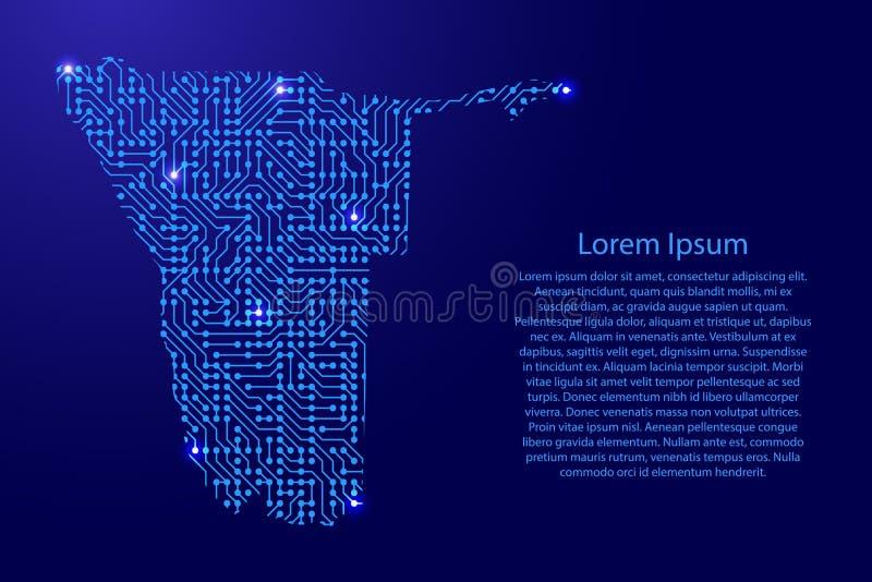 Zeichnen Sie Namibia von Druckbrett, vom Chip und von der Radiokomponente mit Querstation auf lizenzfreie abbildung