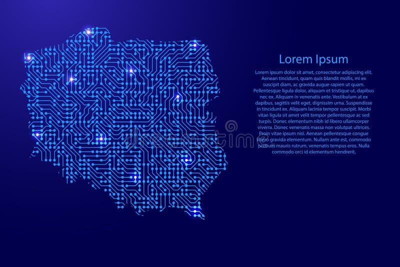 Zeichnen Sie Polen von Druckbrett, vom Chip und von der Radiokomponente mit Blauem auf vektor abbildung