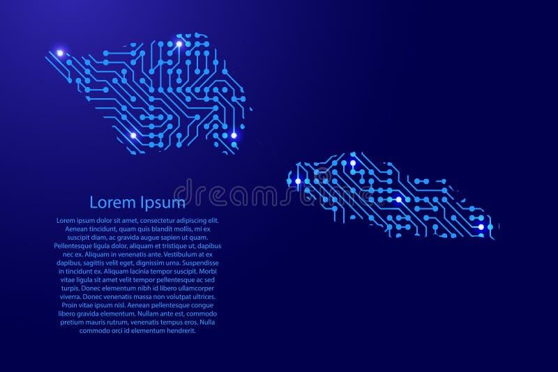 Zeichnen Sie Samoa von Druckbrett, vom Chip und von der Radiokomponente mit Blau auf stock abbildung