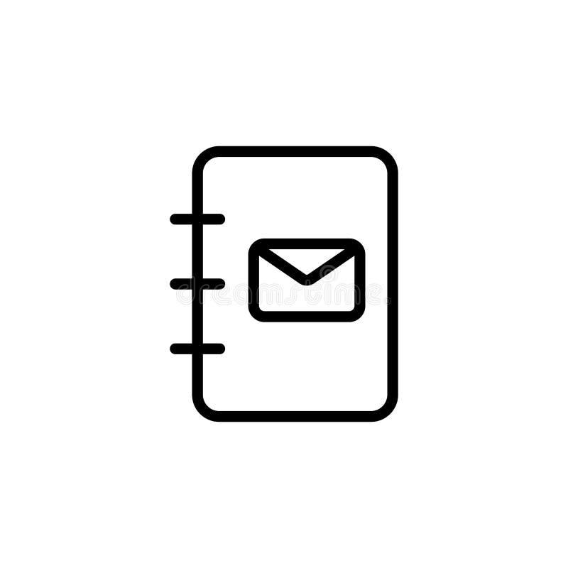 zeichnen Sie Telefonbuch, Kontaktbuchikone auf weißem Hintergrund stock abbildung