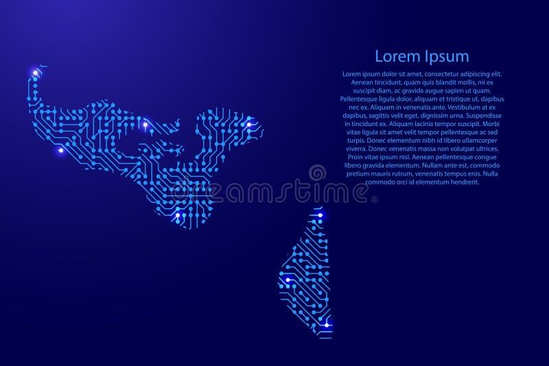 Zeichnen Sie Tonga von Druckbrett, vom Chip und von der Radiokomponente mit Blau auf lizenzfreie abbildung