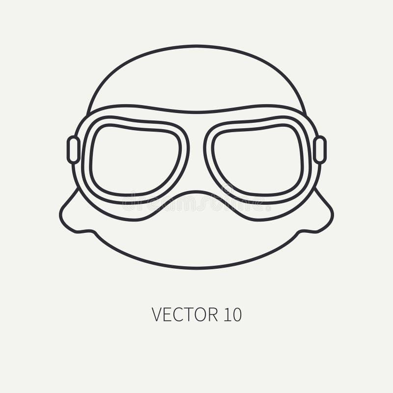 Zeichnen Sie Vektormotorrad-Ikonensturzhelm der flachen Ebene, Gläser Legendäres Retro- Überlagert, einfach zu bearbeiten Radfahr stock abbildung