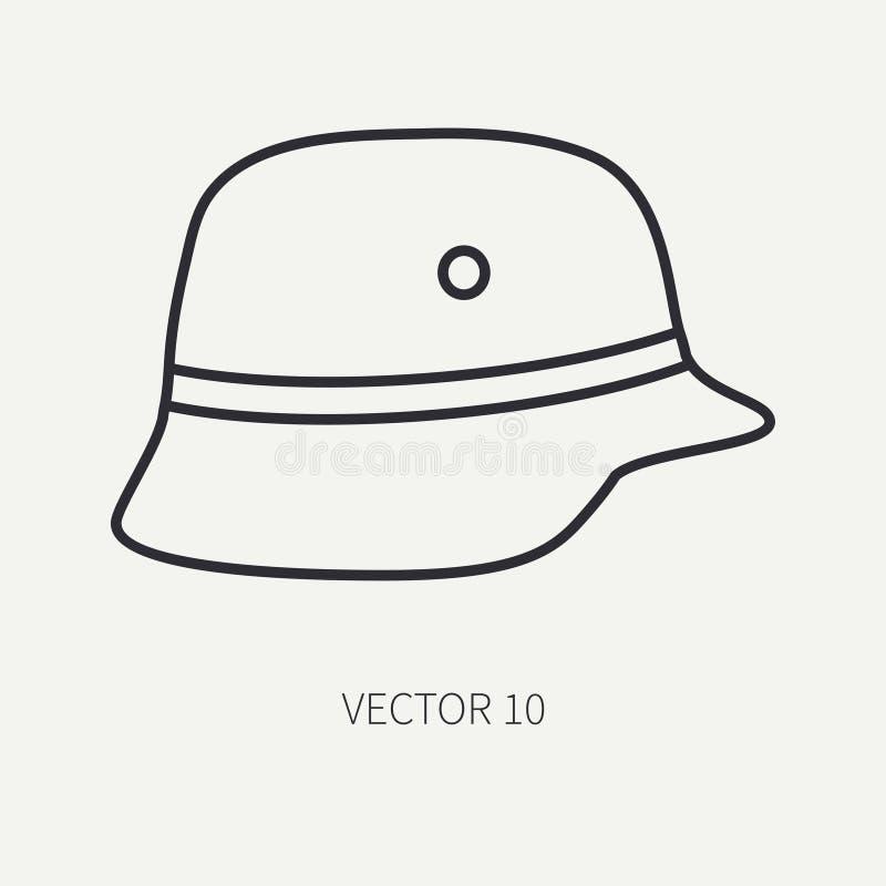 Zeichnen Sie Vektormotorradikonen-Klassikersturzhelm der flachen Ebene Legendäres Retro- Überlagert, einfach zu bearbeiten Radfah lizenzfreie abbildung