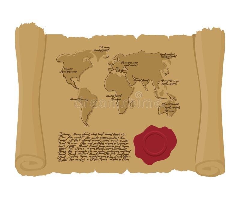 Zeichnen Sie Welt der alten Rolle mit Dichtung von König auf Altes Dokument AR lizenzfreie abbildung