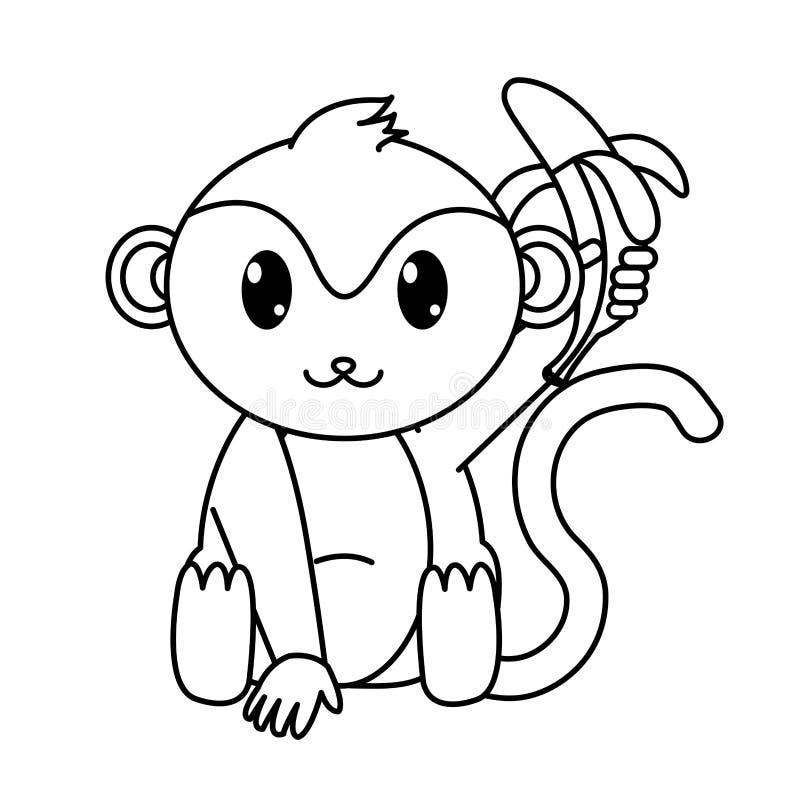Zeichnen Sie wildes Tier des entzückenden Affen mit Banane in der Hand stock abbildung